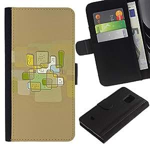 LASTONE PHONE CASE / Lujo Billetera de Cuero Caso del tirón Titular de la tarjeta Flip Carcasa Funda para Samsung Galaxy S5 Mini, SM-G800, NOT S5 REGULAR! / City Abstract Art Brown