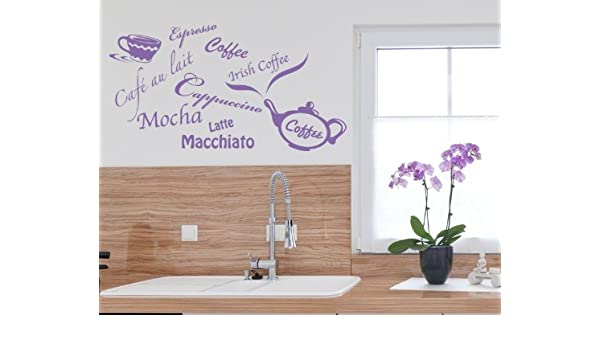 Coffee Types: Espresso, Mokka, Latte, Macciato, etc Wall Decal by Style & Apply - Wall Sticker, Vinyl Wall Art, Home Decor, Wall Mural - 1164 - Lavender, ...