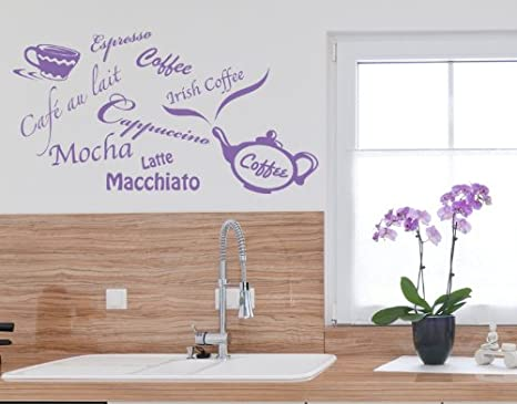 Amazon.com: Coffee Types: Espresso, Mokka, Latte, Macciato, etc Wall Decal by Style & Apply - Wall Sticker, Vinyl Wall Art, Home Decor, Wall Mural - 1164 ...