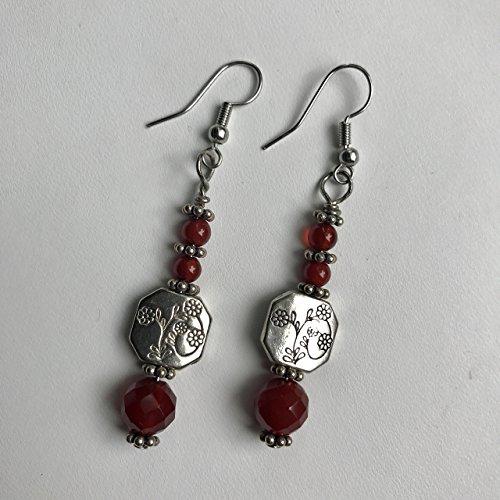 Carnelian and Silver Flower Beaded Earrings