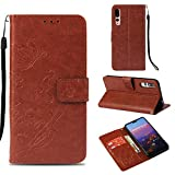Ostop Huawei P20 Pro Wallet Case,Flower PU Leather Case with Kickstand Card Holder Slots Magnetic Slim Flip Folio Cover Butterfly Floral Embossed Pattern for Huawei P20 Pro,Classic Brown