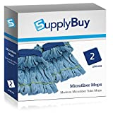 SupplyBuy Medium Microfiber Tube Mops | Industrial Wet Mops with Canvas Headbands | Pack of 2