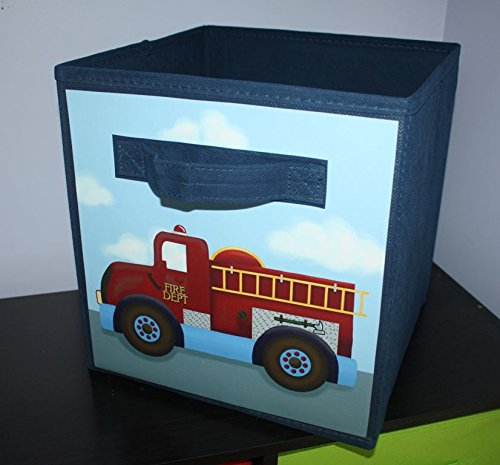 Firetruck Rescue Transportation Fireman Fabric Bin Boy's Personalized Bedroom Baby Nursery Organizer for Toys or Clothing FB0056