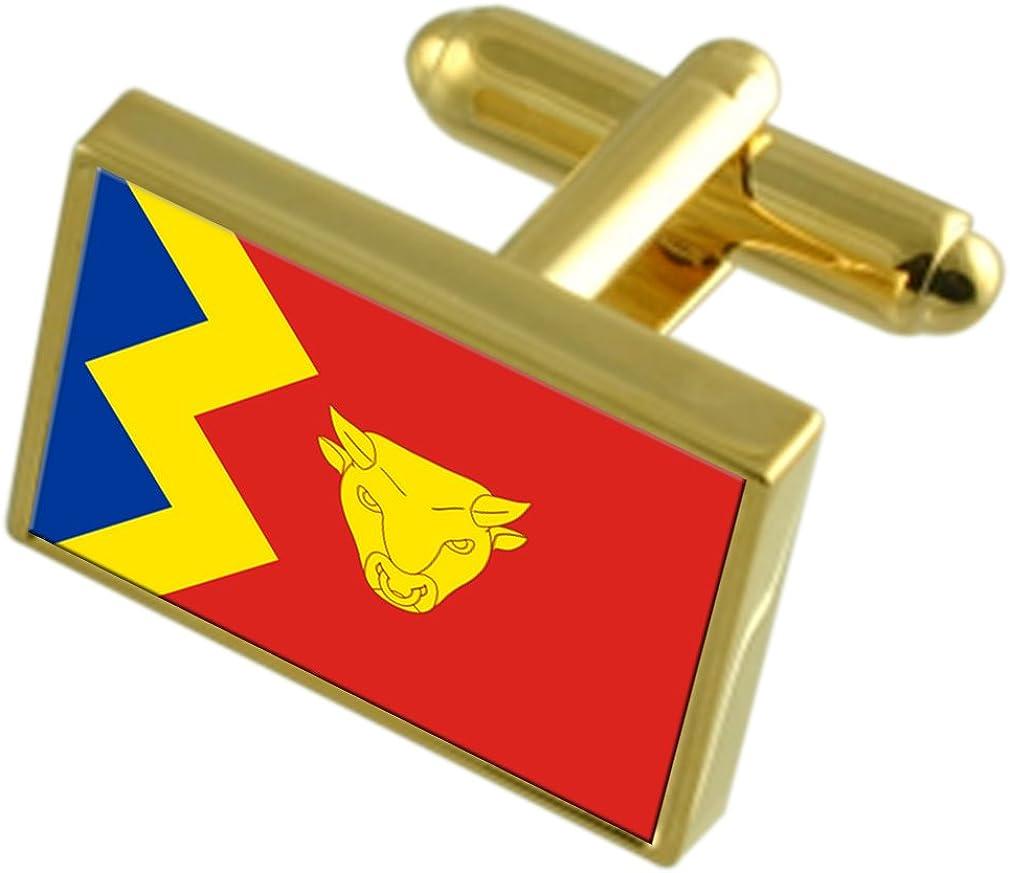 Birmingham City England Gold-tone Flag Cufflinks Engraved Box