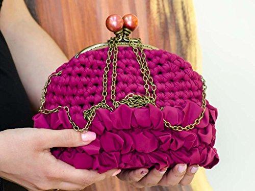 Clutch Bag Handmade Crochet Handbag Purple Purse by The Beaded Gaden
