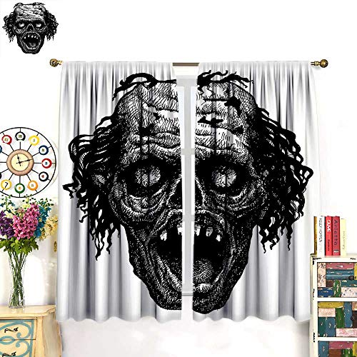 Anniutwo Halloween Blackout Curtain Zombie Head Evil Dead