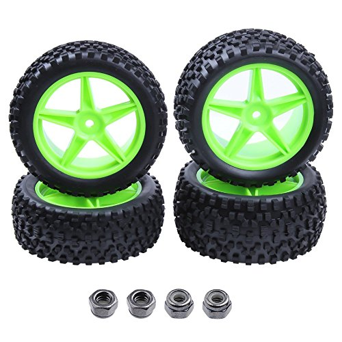 (Hobbypark 4pcs Front & Rear Rubber Tires & Wheel Rims Sets For RC Redcat 1/10 Off Road Buggy Shockwave Nitro Tornado S30 EPX HSP Backwash Warhead Exceed Replacement)
