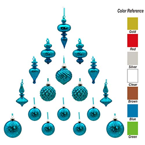 youseexmas Mouth Blown Glass Christmas Ornaments Pack of 17 Medium Size (Blue)