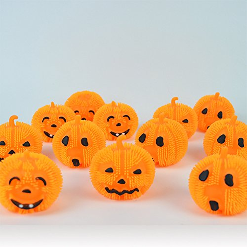 Qiyun Pumpkin Ball LED Halloween Light Cute and Funny Expression Pumpkin Spiky Ball Design Soft Squishy Plastic Light, Sold in 16pcs Random Expressions
