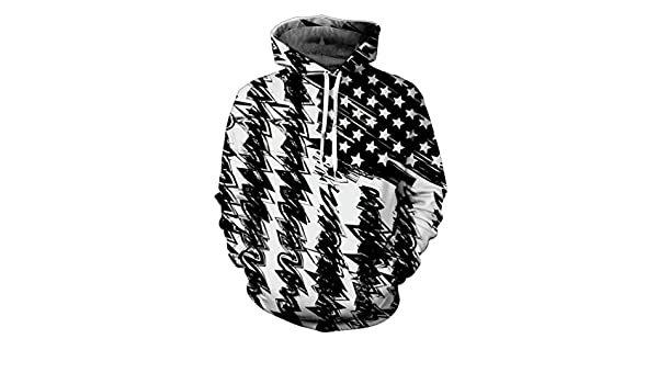 Usa Flag Black White Hoodies Sweatshirt Autumn Winter MenS 3D Hooded Tracksuit Hip Hop Pullover Dropship Tops at Amazon Mens Clothing store: