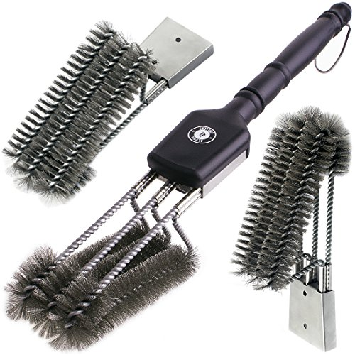 "Alpha Grillers 18"" Grill Brush. Best BBQ Cleaner. Safe For All Grills. Durable & Effective. Stainless Steel Wire Bristles And Stiff Handle. A Perfect Gift For Barbecue Lovers."