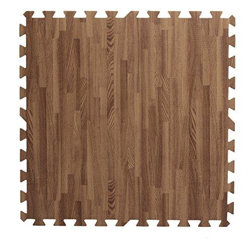 Displays2go Interlocking Puzzle Pieces Wood Grain Floor Mats (Set of 13), Dark Oak
