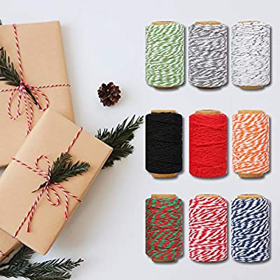 Maosifang 9 Rolls Christmas Twine Cotton 2 mm String Rope Cord for Gift Wrapping Arts Crafts Party Decorations Gardening Applications, 9 Colors : Office Products