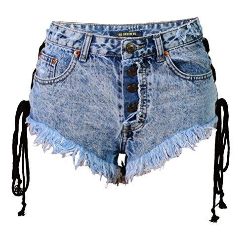 con Mezclilla Claro Zhhlinyuan Jeans Pantalones Correas Bandas Pantalones Borla Abotonar Cortos Pantalones Verano Lado Short Doble Caliente Azul PSdfqBw