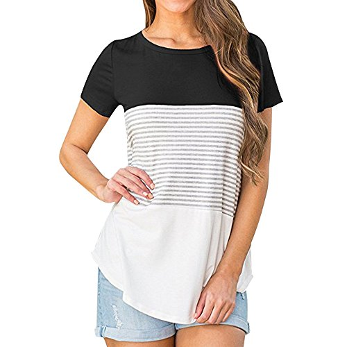 ◐OFEFAN◑ Short Sleeve and Long Sleeve Round Neck Triple Color Block Stripe T-Shirt Casual Blouse Black