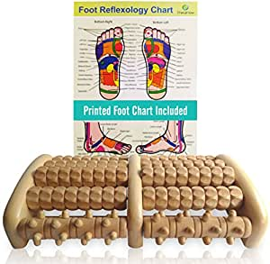 TheraFlow Large Dual Foot Massager Roller - Plantar Fasciitis, Heel & Arch Pain Relief- *2018 Enhanced Model* - Laminated Foot Chart & Detailed Instructions Included - Stress Relief, Relaxation Gift