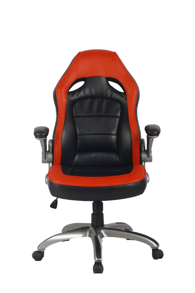 VIVA High Back Ergonomic Nylon Base Leather Office Chair with Padded Flip-Up Arms VIVA OFFICE FBA_Viva1446L