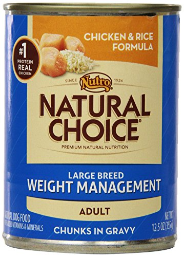 Natural Choice Dog Large Breed Weight Management Chicken And Rice Dinner Chunks In Gravy Dog Food Cans, 12-1/2-Ounce, 12 Pack Cans