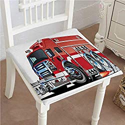 "Mikihome Chair Pad Soft Seat Cushion Big Fire Truck with Emergency Equipments Universal Safety Rescue Team Engine Cartoon Print Expandable Polyethylene Stuffed Machine Washable 28""x28""x2pcs"