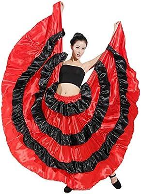 LOLANTA Falda Flamenca roja para Mujer, Volantes Negros Ropa de ...