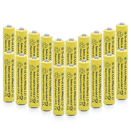 QBLPOWER 1.2v AAA NiCd 600mAh Triple A Rechargeable Battery Cell for Solar Lights Garden Lamp (20 Pack AAA)