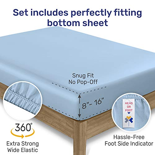 600 Thread Count 4pc California King Urban Hex Blue Printed Sheet Set - 100% Cotton Bedsheets for Bed - Luxury Sheets Extra Long Staple Cotton, Soft Sateen Weave Fits Mattress 16'' Deep Pocket