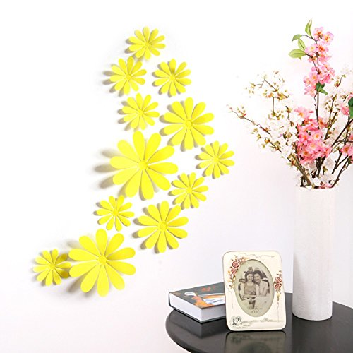Wholesale Amaonm® 24 PCS Cute 3D DIY Flowers Wall Decals Removale Home art Decor Flowers Wall Stickers Murals for Kids Girls room Bedroom Weeding party Birthday Shop Windows Decorations (Yellow) supplier