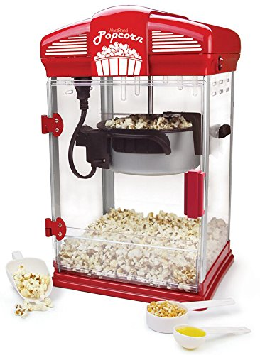 West Bend 82515 Hot Oil Theater Style Popcorn Popper Machine Offers Nonstick Kettle Fast and Durable with Easy Clean up, 4-Ounce, Red by West Bend