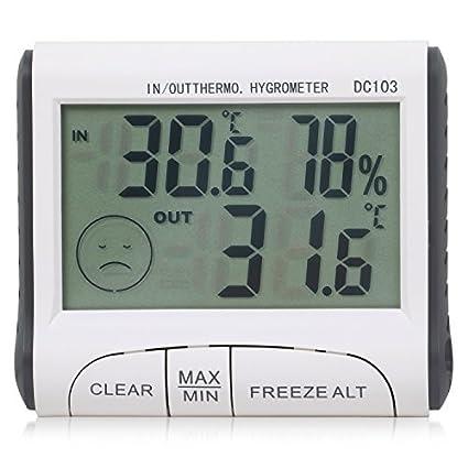 TRIXES Interior / Exterior Digital LCD Termómetro e Higrómetro de Invernadero Casa
