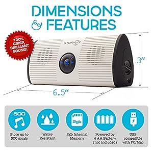 STORMp3 Water Resistant Mp3 Speaker, Internal Memory, Portable, Brilliant Sound, White or Black, 2 GB Storage