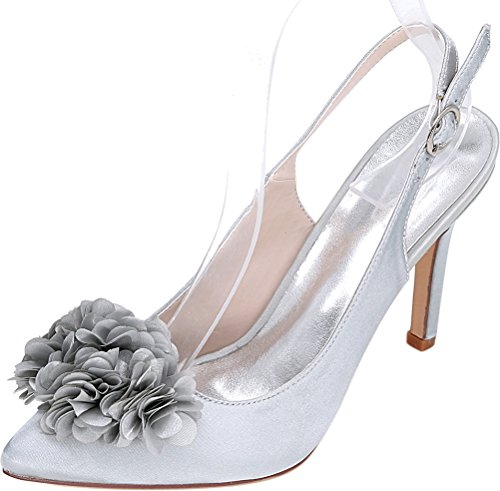 CFP 0608-20H Womens Slingback Sandals Flower Pumps OL Bride Comfort Work Wedding Job Nightclub Pointed Toe Heeled Satin Silver nxeeFTx1F