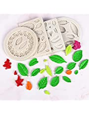 Flunyina Leaves Silicone Molds 4 Packs Flower Tree Leaves Shape Molds for Fondant Cake Sugar Chocolate Cookies Cupcake Cake Topper Jelly Ice Tube Clay Wax Candle Soap Craft