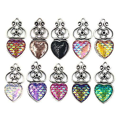 meiyuan 10pcs Jewelry Making Kits Mermaid Fish Scales Hollow Love Heart DIY Jewelry Making Charm Pendants Multicolor