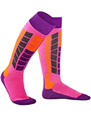 MCTi Kids Children Girls Winter Ski Snowboard Snow Warm Knee/Over The Calf/OTC High Performance Socks 2 Pairs