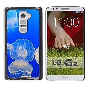 PC/Aluminum Funda Carcasa protectora para LG G2 D800 D802 D802TA D803 VS980 LS980 Jellyfish Glowing Ocean Blue Sea Nature / JUSTGO PHONE PROTECTOR