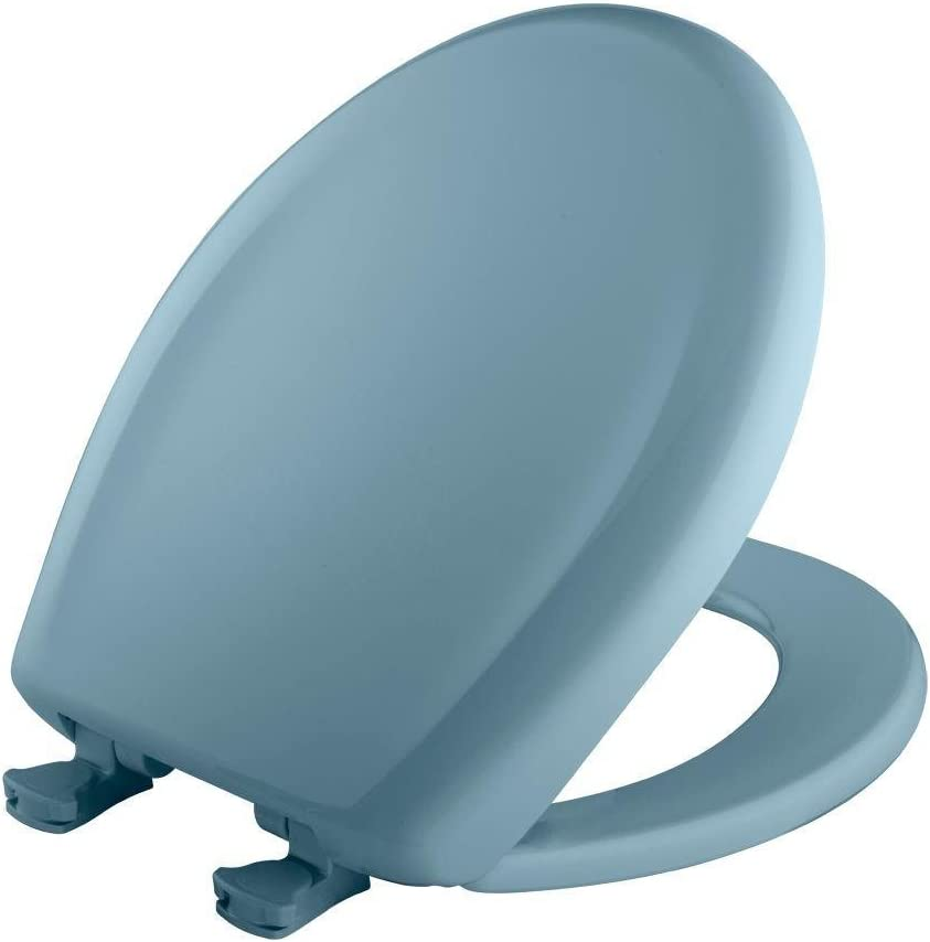 Bemis 200SLOWT 044 Toilet Seat, Slow-Close Round Closed Front Plastic w/Easy-2-Clean Hinges - Cerulean Blue