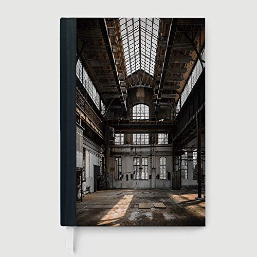 Urban Traveler Jacket - Industrial Decor,Inside a Hangar Old Architecture Construction Urban Timeworn Windows Decorative,96 sheets/192 pages,B5/7.99x10.02 in