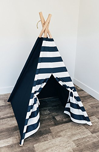 Navy teepee with navy/white stripe door by TinyTeepees