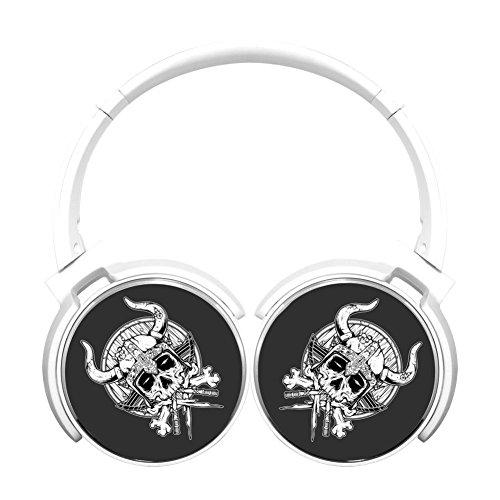 (MagicQ Death Viking Bluetooth Headphones,Hi-Fi Stereo Earphones White)