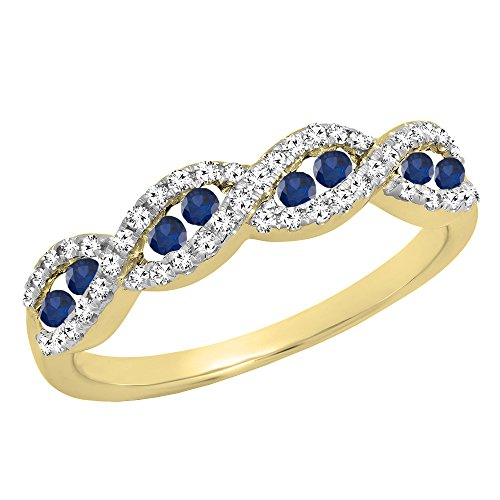 Dazzlingrock Collection 10K Round Blue Sapphire & White Diamond Ladies Anniversary Wedding Band, Yellow Gold, Size 7