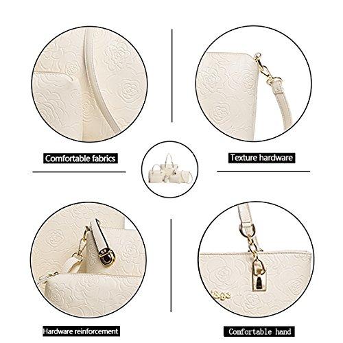 la Tisdaini Messenger de wallet mujer Bolso de mano moda hombro 6 bolso piezas de relieve de Blanco Bag de en bolso Iwr4qTIt