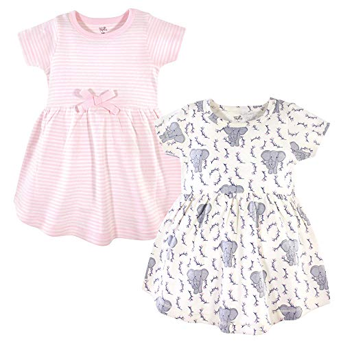 Touched by Nature Baby Girls Organic Cotton Dresses, Pink Elephant Short Sleeve 2-Pack, 12-18 Months (18M)