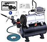 Pro Airbrush Kit and Professional Quiet Airbrush Compressor with air tank,Regulator and Moisture