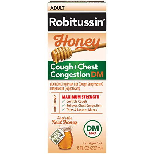 Robitussin Honey Adult Maximum Strength Cough + Chest Congestion DM Max, Non-Drowsy Cough Suppressant & Expectorant, Real Honey, 8 fl. oz. Bottle (Best Daytime Cough Suppressant)