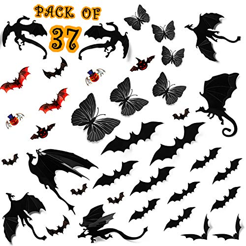 Aster Scary Halloween Sticker Set - 37 PCS 3D Decal [ Bats & Dragon & Butterfly ] DIY Halloween Party Decorations Home Decor Supplies for Wall, Windows, Front Door, Fireplace
