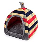 Hanshu 2 In 1 Pet House and Sofa Indoor Soft Warm Washable Igloo Pyramid Cat Dog Beds,(Colorful Stripe, L)