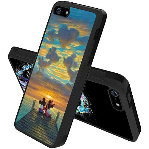 (DISNEY COLLECTION Phone Shell Case Compatible with iPhone 5S, iPhone SE, iPhone 5 (5.5inch) Mickey and Minnie Sunset)