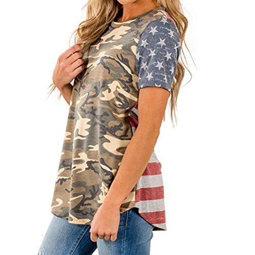 Inverlee Womens Camouflage American Flag Print Casual Short Sleeve Tee Tops Blouse T-Shirt (Multicolor, M)