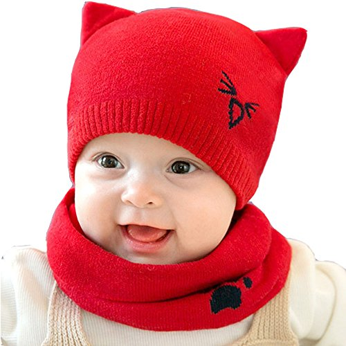 Warm Baby Boys Girls Hat Scarf Set Cute Knitted Cotton Hats(Red) - 6