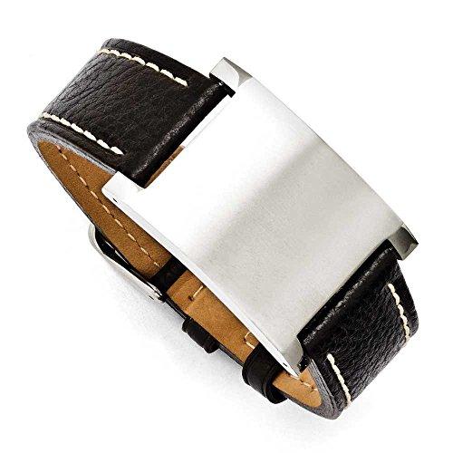 En acier inoxydable Bracelet en cuir noir Boucle Réglable